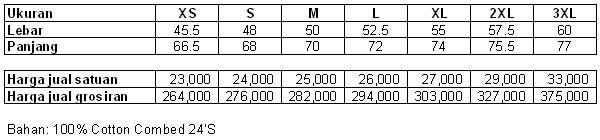 daftar harga kaos polos putih